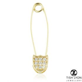 TL - Gold Jewelled Safety Pin