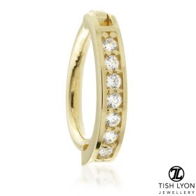 TL - Gold Channeled Jewel Oval Rook Ring