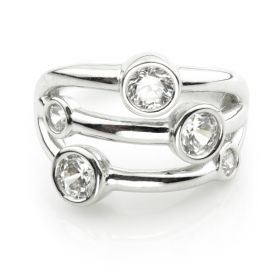 TL - Silver CZ Banded Hinge Ring
