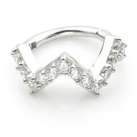 TL - Silver CZ Pavé Zig-Zag Hinge Ring