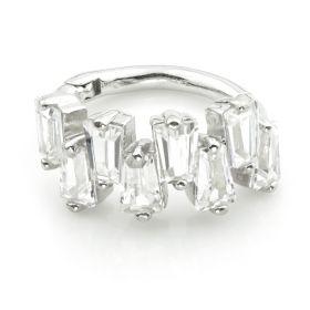 TL - Silver CZ Baguettes Hinge Ring