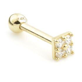 TL - Gold Jewelled Mono Square Cartilage Bar