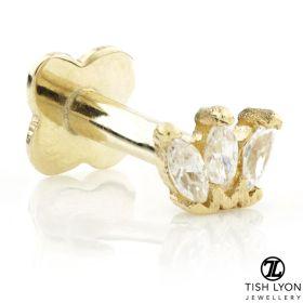 TL - Gold Triple Marquise Flower Internal Labret 1.2mm