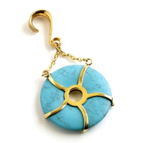 1x Turquoise Donut on Hanging Brass Hook