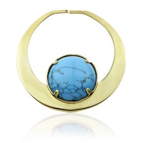 1x Turquoise Brass Tunnel Charm