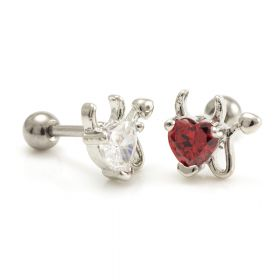 Devil Heart Micro Bar Ear Stud