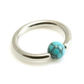 Turquoise bead in Steel BCR