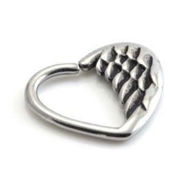 Steel Wing Heart Ring