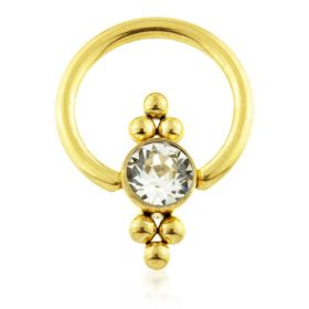 Yellow Gold Ti BCR with Double Tri Dot Gem Flat Disk
