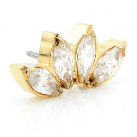 Threadless Yellow Gold Ti Marquise Gem Cluster