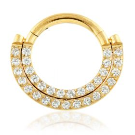 Yellow Gold Titanium Front Facing Double Pavé Gem Hinged Ring