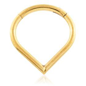 Yellow Gold Ti Wishbone Hinged Ring