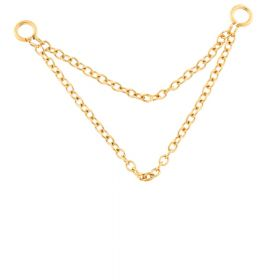 Gold PVD Steel Double Hanging Chain Charm