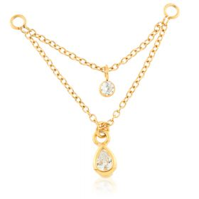 Gold PVD Steel Double Hanging Gem Chain Charm