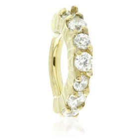 Zircon Gold Steel Hinged Pave Jewelled Rook Ring