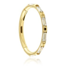 Zircon Gold Titanium Jewelled Baguette Hinged Micro Ring - 1.2mm