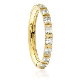Zircon Gold Titanium Square Gem Blaze Set Hinged Micro Ring